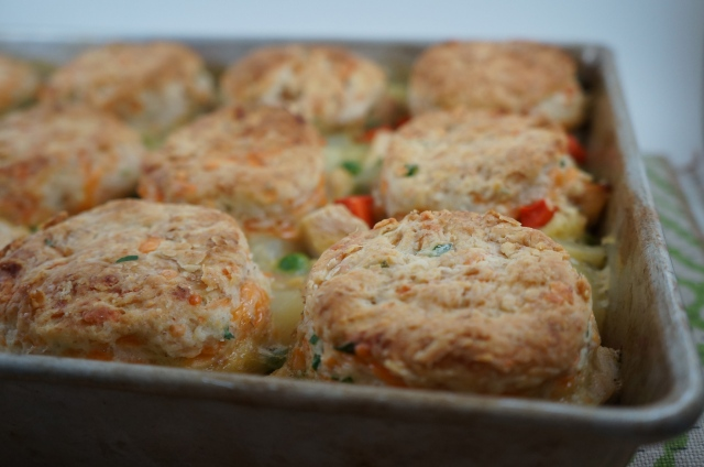Turkey Stew with Herbed Cheddar Biscuits