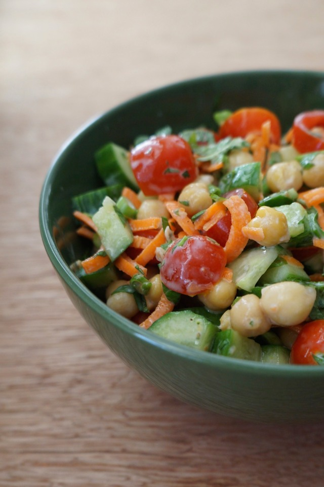 Chickpea Salad with Fresh Mint and Greek Yogurt Dressing