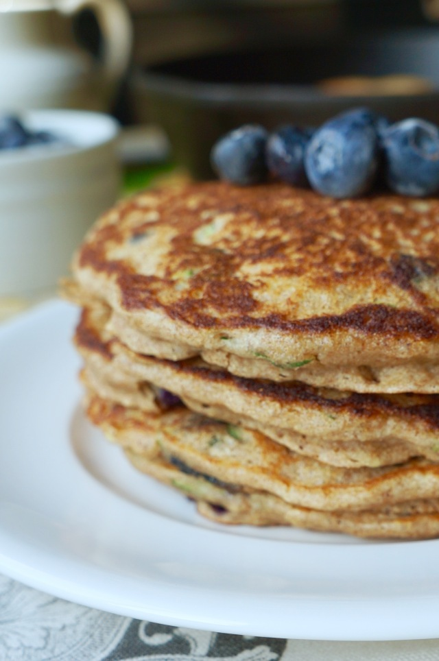 Whole Grain Zucchini Bread Pancakes with Blueberries | Breaking Bland Eats