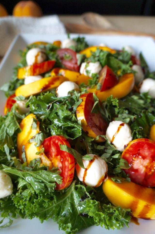 Kale and Peach Caprese Salad | Breaking Bland Eats