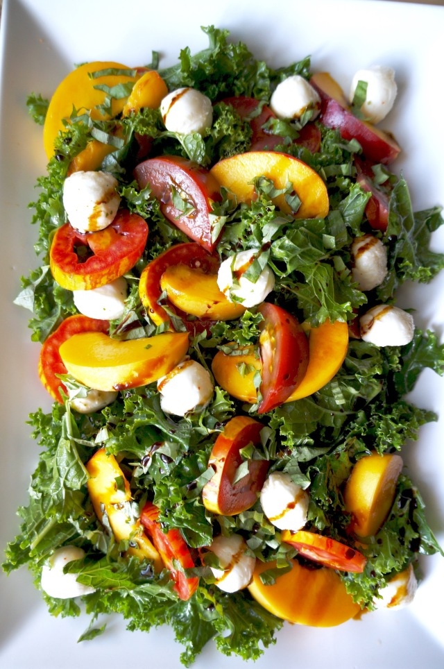 Kale and Peach Caprese Salad | Breaking Bland Eats